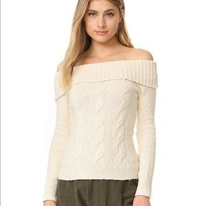 Free People Cable Fold Over Sweater Size L